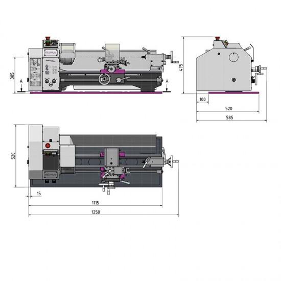 Τόρνος μετάλλου Optimum TU 2506 220V